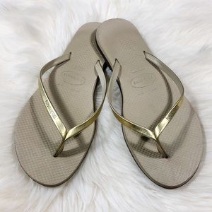 Havaianas Gold & Beige Flip Flop Sandals 7/8W